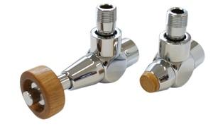 Комплект уголовой Медь Антик 1/2 х M22x1,5, Корпус клапанов Exclusive, Термостатическая головка с круглой деревянной рукояткой