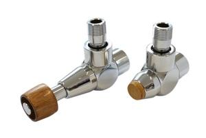 Комплект уголовой Сталь 1/2 х M22x1,5, Корпус клапанов Lux, Термостатическая головка с круглой деревянной рукояткой