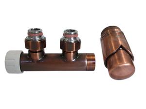 Узел подключения DUO-PLEX 3/4 x М22x1,5 + 2 Ниппеля 1/2x3/4 Медь Антик