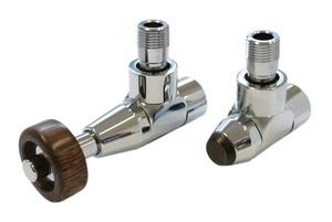 Комплект уголовой Латунь Антик 1/2 х M22x1,5, Корпус клапанов Lux, Термостатическая головка с круглой деревянной рукояткой