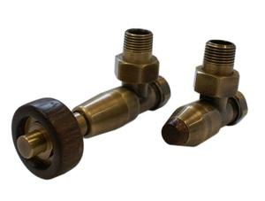 Комплект уголовой Латунь Антик 1/2 х M22x1,5, Корпус клапанов Lux, Термостатическая головка с цилиндрической деревянной рукояткой