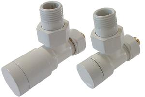 Комплект клапанов с ручной регулировкой форма угловая Элегант Белый