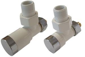 Комплект клапанов с ручной регулировкой форма угловая Элегант Белый-Хром