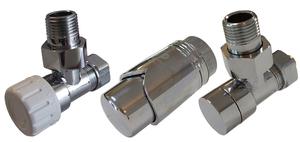 Комплект клапанов термостатических Форма угловая Элегант Хром