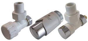 Комплект клапанов термостатических Форма угловая Элегант Белый - Хром