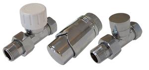 Комплект клапанов термостатических Форма Проходная,Элегант Хром