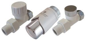 Комплект клапанов термостатических Форма Проходная, Элегант Белый - Хром