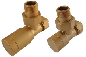 Комплект клапанов с ручной регулировкой Форма угловая Элегант Золото Мат