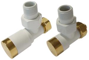 Комплект клапанов с ручной регулировкой Форма угловая Элегант Белый - Золото