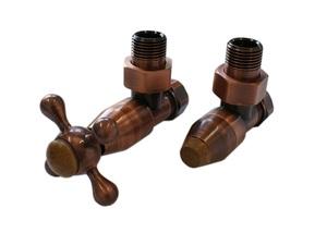 Комплект клапанов с ручной регулировкой Форма угловая Медь Антик, с деревом