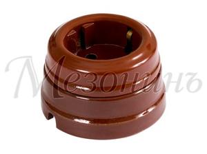 Розетка с заземляющим контактом, цвет - коричневый