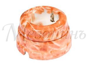 Розетка с заземляющим контактом, цвет - темный мрамор