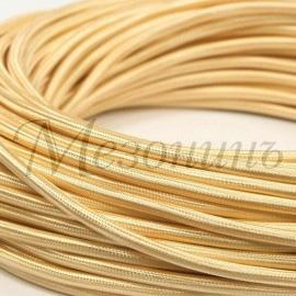 Провод монтажный круглый ПВХ 2х2,5, цвет - желтый шелк (бухта 25 м)
